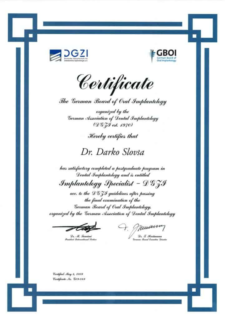 Specijalist Implantologije DGZI