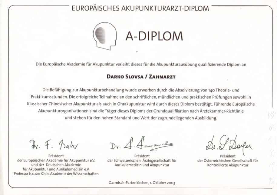 A-diplome od Europske Akademije za Akupunkturu